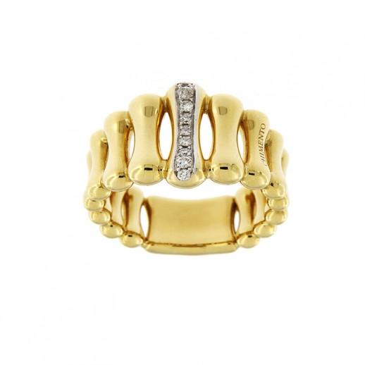 Anello Chimento Bamboo in Oro Giallo con diamante