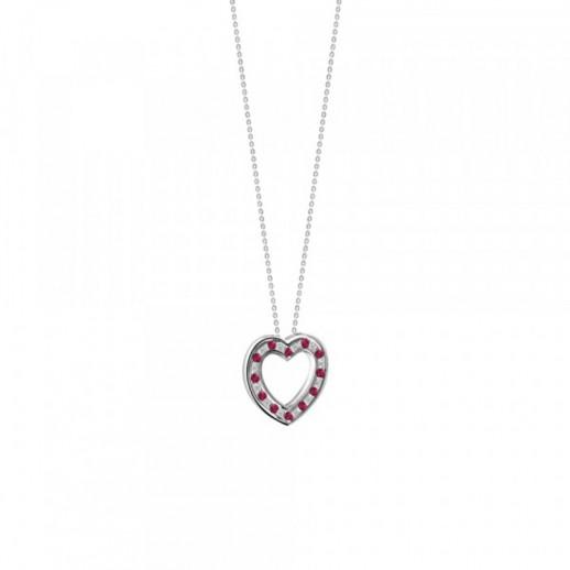 Collana a Cuore Damiani Belle Epoque in Oro Bianco con Diamanti e Rubini