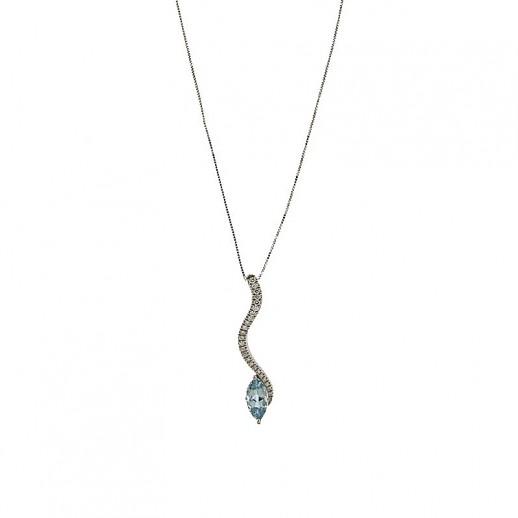 Collana Damiani in Oro Bianco con Diamanti e pietra Acquamarina