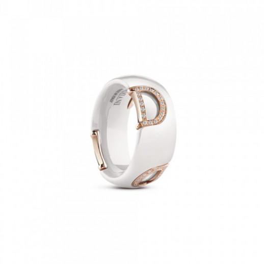 a piedi scatti di classico buona vendita Anello D.Icon in Ceramica Bianca con Oro Rosa e Diamante ...