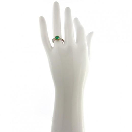 Anello Damiani in Oro Bianco e Giallo, Diamanti e Smeraldo