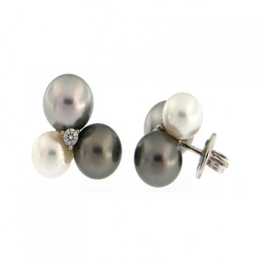 Orecchini Damiani in Oro Bianco con 3 perle