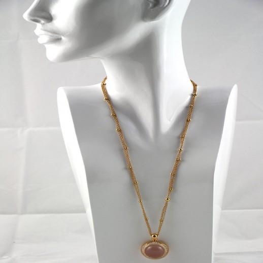 Collana Pasquale Bruni Oro, Quarzo Rosa e Diamanti