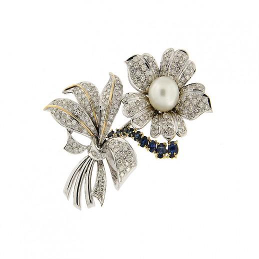 Spilla By Mazzoni in Oro Bianco, Diamanti, Zaffiri e Perla