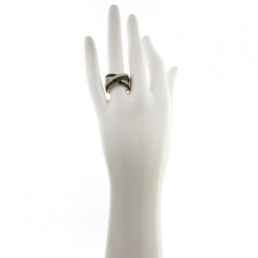 Anello My Valenza in Oro Bianco e Diamanti Bianchi e Neri